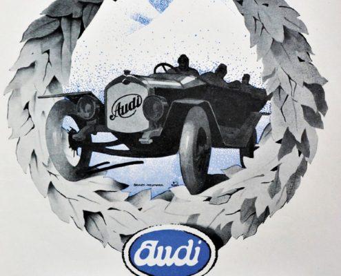 Automobilwerbung 20er 30er Audi Allein
